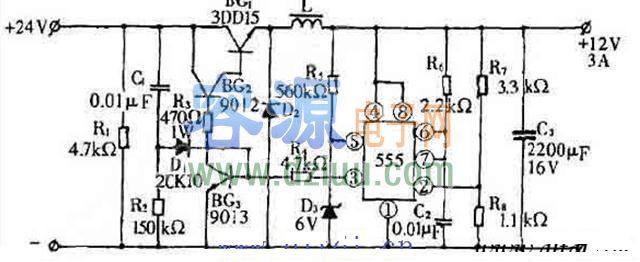 24v转12v开关电源电路图