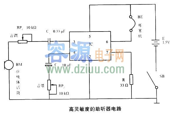 该电路采用运算放大器集成电路ic(ld505)进行组装,外围元件少