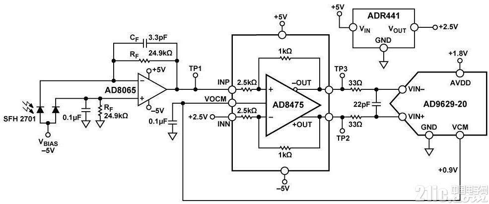高速光电二极管信号调理电子电路图 唯样电子商城