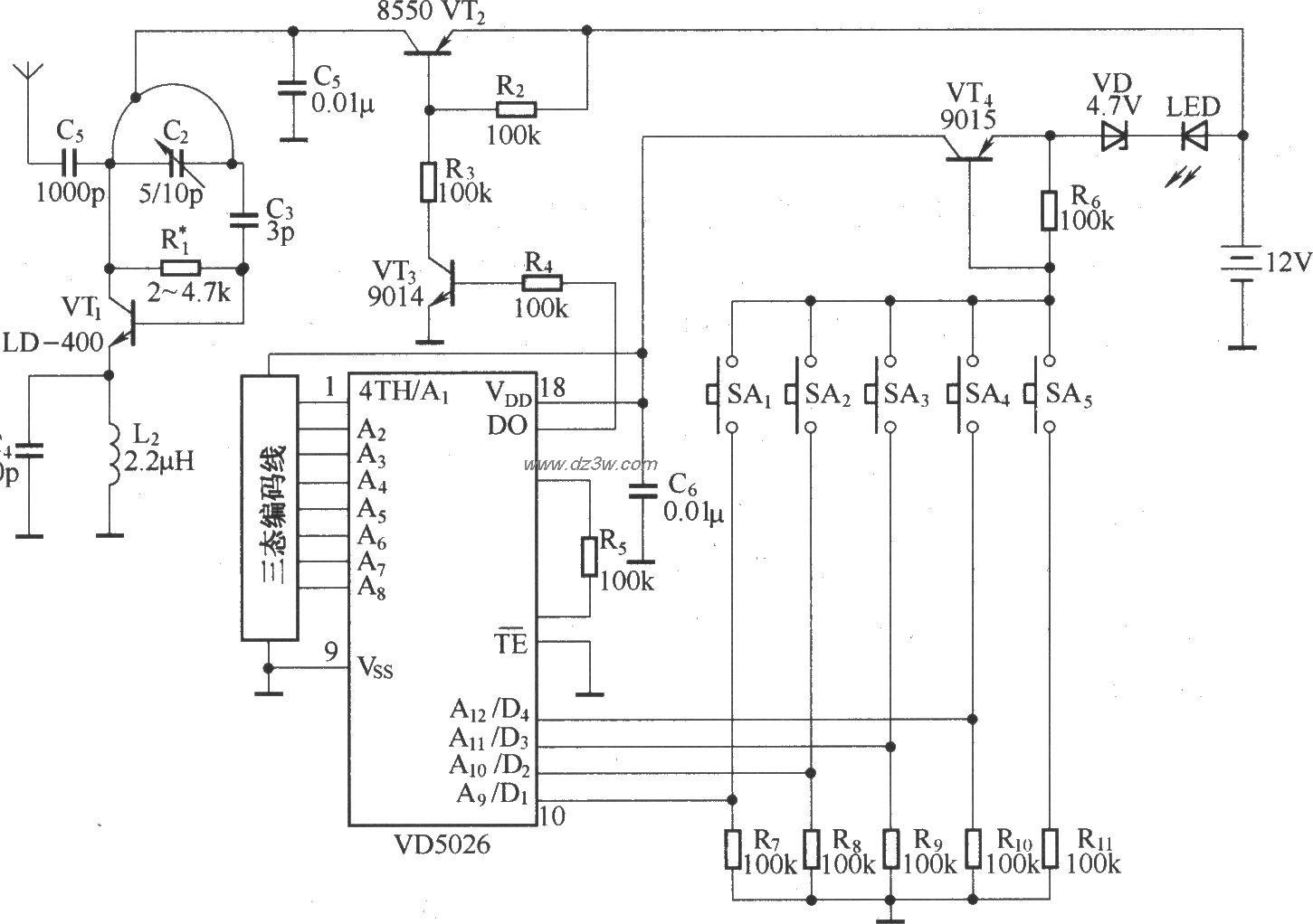 四通道互锁遥控电路原理