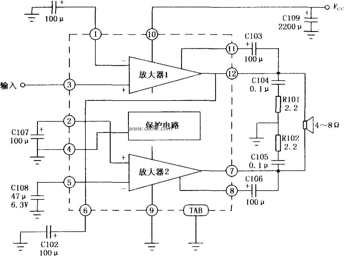 集成电路tda1521在btl应用时单电源正确的接法