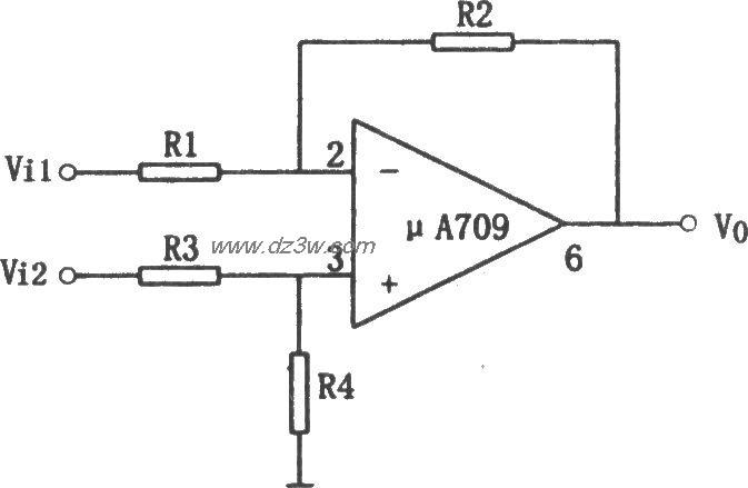 μa709构成的简单差动放大电路
