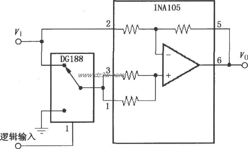 数控增益±1放大器(ina1