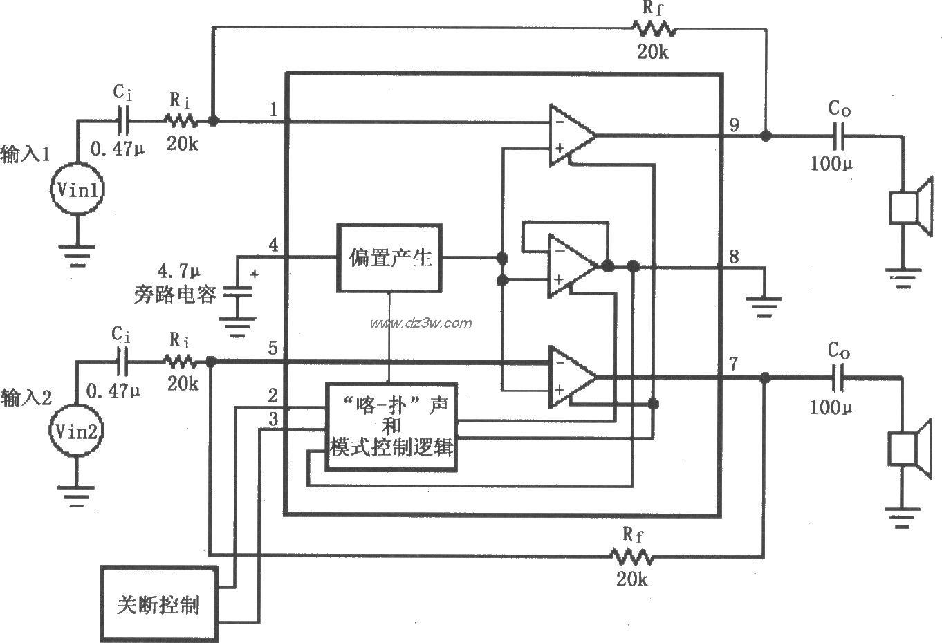 lm4911用于双声道放大器的典型应用电路