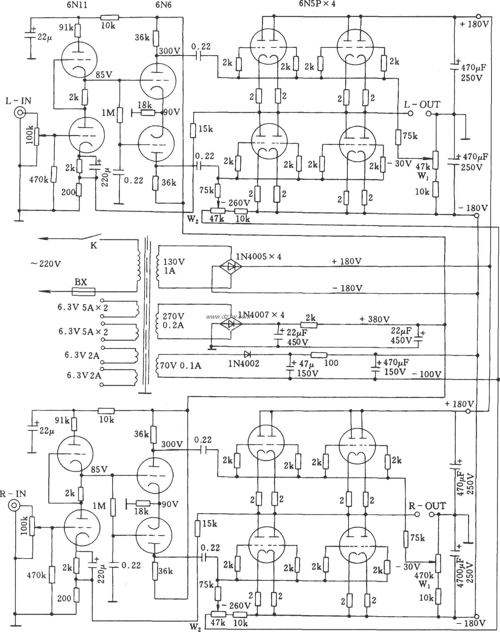 采用6n5p电子管的立体声otl功率放大器电路