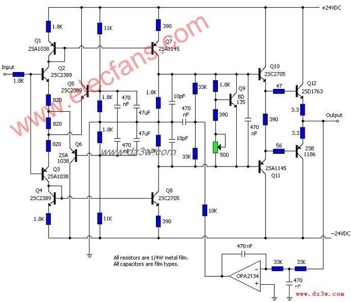 opa2134功放电路及仿真电