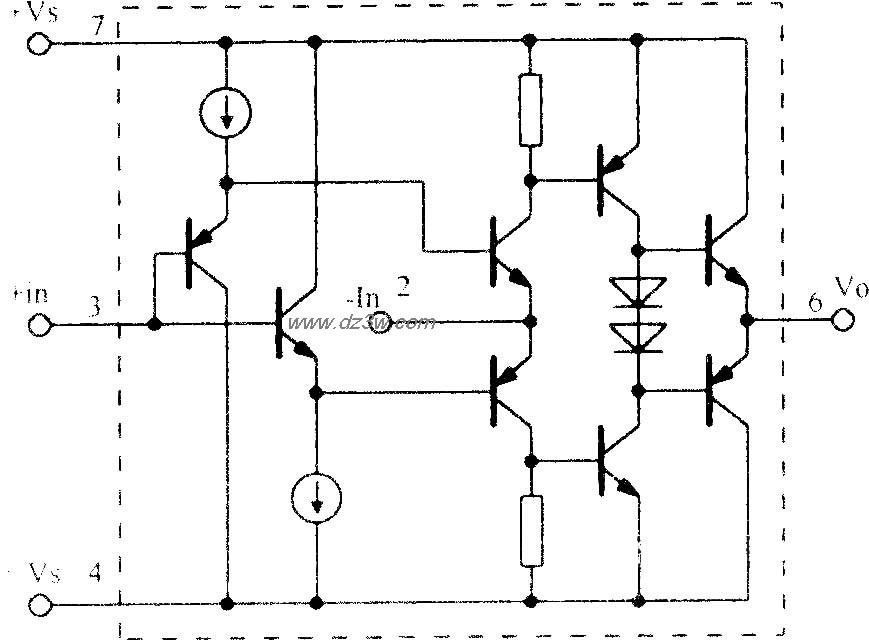 高速电流反馈运算放大电路opa603 内部原理图