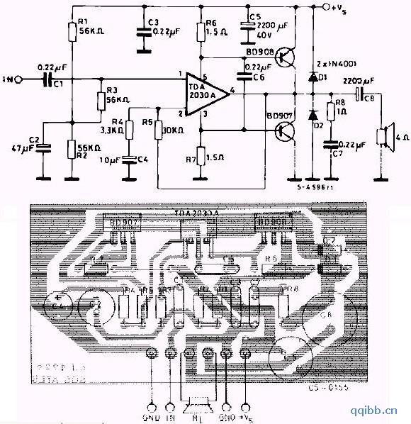用bd907 908和tda2030制作的功放电路图片