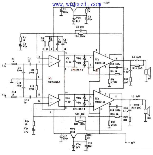 stk3048a+stk6153功放电路图