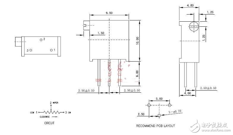 3296电位器引脚接法及规格书说明