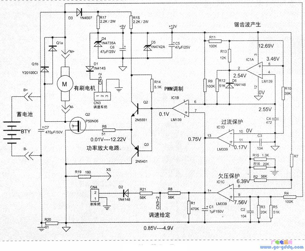 锯齿波振荡电路是lm339比较器功能的典型应用电路之一,其电路