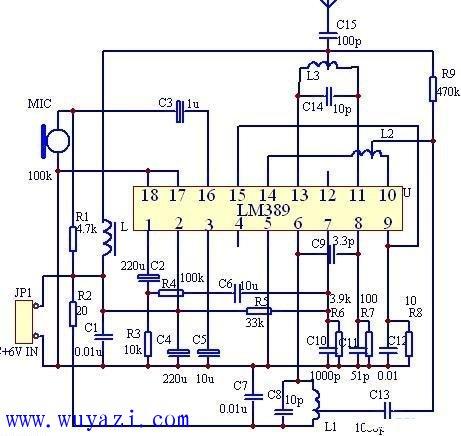用lm389制作的fm发射电路图